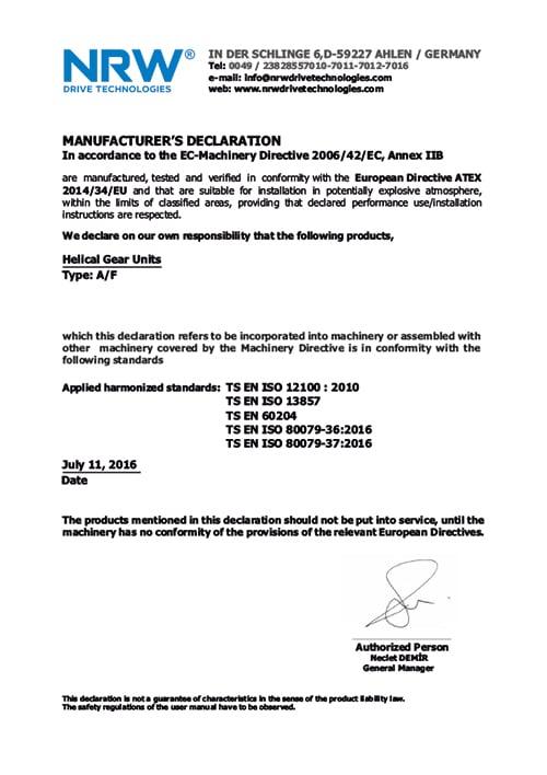 Сертификат качества мотор-редуктора