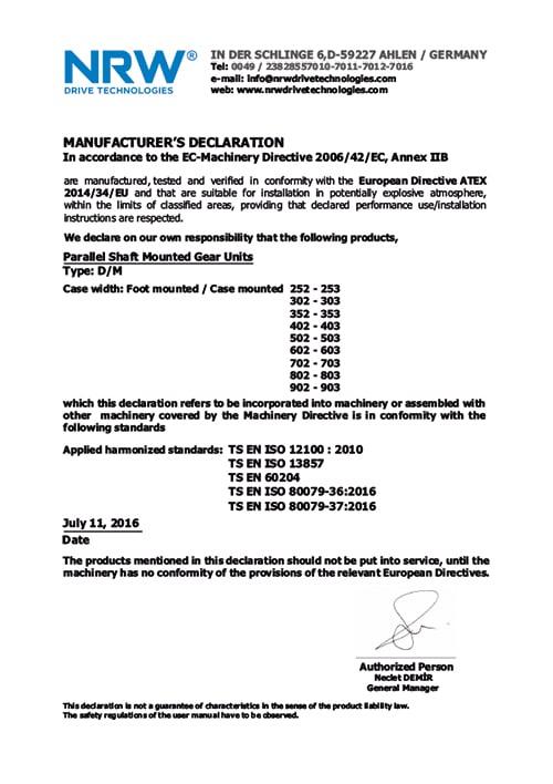 Сертификат качества мотор-редуктора DM