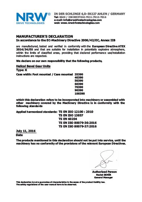 Сертификат качества мотор-редуктора K